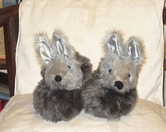 New Grey Wolf Novelty Slippers Recent Custom Order Ready to be Repeated Recent Shop Listing Grey Plush Warm Footwear Made to Measure Present
