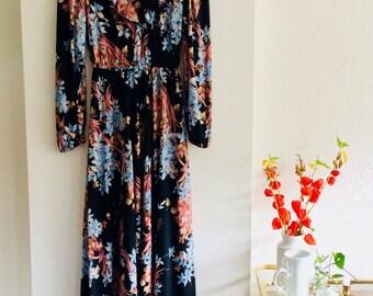 Vintage dress| 70s dress | size M/L | floral dress | gebloemde maxijurk | maxikleid | vintage kleid | bohemian chic | boho dress