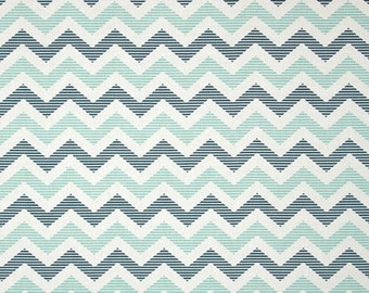 Aqua and Blue Chevron Cotton Fabric in Yard, 3/4, Half and 1/4 School Days by Zoe Pearn for Quilting Sewing Applique by Riley Blake