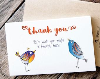 Funny Printable Thank You Card - Birds say thank you