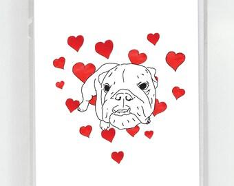English Bulldog Dog I Love You Greeting Card