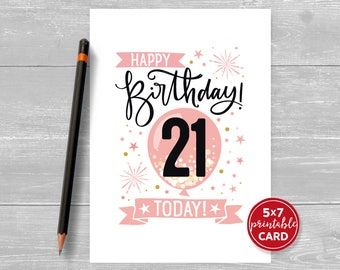 """Printable 21st Birthday Card in Pink - Happy Birthday 21 Today! - 21st Card For Her - 5""""x7"""" + printable envelope template. Instant Download."""