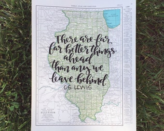 Illinois & Indiana | personalized calligraphy map | original vintage map | calligraphy map | custom calligraphy map