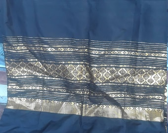 Gold Embroidered Black Silk Fabric