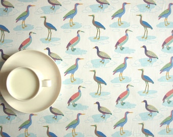 Tablecloth white colorful small birds , also napkins runner curtains pillows available, great GIFT