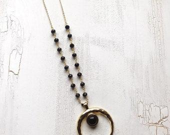 Big Onyx Boho Moon Kette, Creacent Moon Mond Edelstein Halskette, Boho  Nomad Gypsy Schmuck, Doppelhorn Halbmond