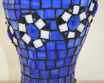 Blue stained Glass Mosaic Vase