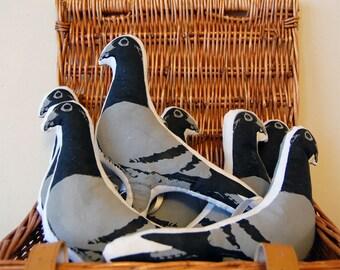 LAST FEW REMAINING Pigeon softie hanging printed bird