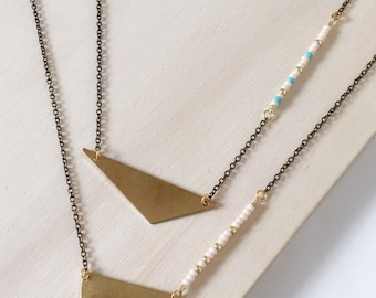 SALE Geometric Necklace : Summer Jewelry - Beaded Crescent Brass Necklace