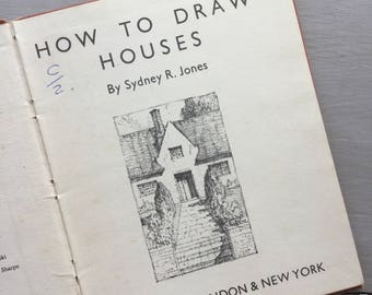 How To Draw Houses Art Illustration Drawing Sketching Manual Instruction Vintage Book 1940s