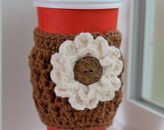 Crochet Coffee Cozy, Brown Cup Cozy with Flower, Flower Cup Cozy, Addison Coffee Cozy, Gift