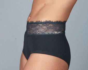 Panty with the highest quality cotton, French lace detail.Grey Anchor Color.Retro style cut.High Waisted. Feminine and comfy. 100% handmade