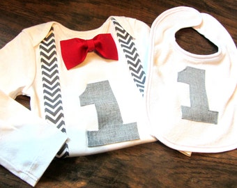 First Birthday Boy Outfit - Personalized Birthday Boy - Cake Smash Outfit - Red 1st Birthday Boy Outfit - Bow Tie - First Birthday Boy Shirt