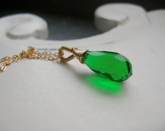 Luck of the Irish Emerald Green Briollette on 14kt Gold Fill, Wedding Jewelry, Bridesmaid, Gift, St. Patricks Day