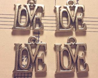 Love Charms -4 pcs. - Silver Love Charm - Antique Silver Charm - Love Charm - Charms - Silver Charms