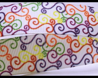 "Rainbow Artistic Elegant Colored Swirls Printed Grosgrain Ribbon 7/8"" wide Scrapbooking  RA32118"