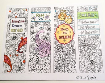 Sue Zipkin printable set of 4 Inspirational  bookmarks for coloring