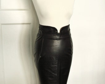 Black leather look pencil skirt, high waisted, vegan leather, fetish skirt, sizes XS-XL or custom made in your size