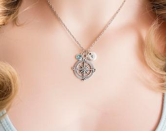 Silver compass necklace, compass pendant, compass jewelry, compass, journey necklace, travel necklace, friendship necklace, compass silver