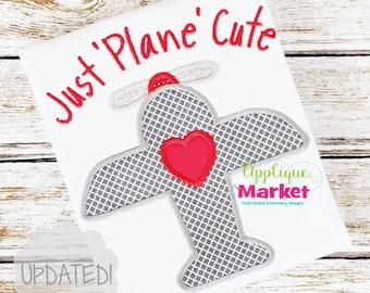 Machine Embroidery Design Applique Heart Plane INSTANT DOWNLOAD