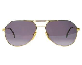 Tullio Abbate vintage sunglasses 80s, made in Italy. Original gold aviator sunglasses, Vintage Aviators for women and men, Military glasses