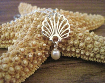 Sterling Silver Seashell Necklace with Pearl Accent