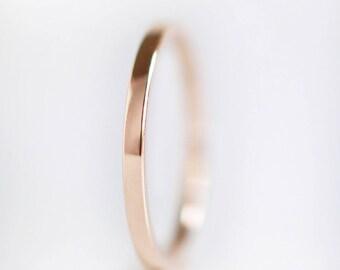 1.5mm Rose Gold Wedding Band   10k 14k 18k Rose Gold Ring   recycled gold   thin flat edge wedding band   Shiny or Matte Brushed Finish