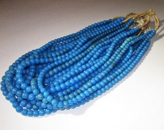 Vintage Blue Kakamba Prosser Glass African Trade Beads West Africa Early 20th. C. - Very Desirable for Jewelry Makers!