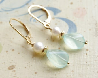 Chalcedony Earrings Aqua Chalcedony Dangle Earrings Gemstone Jewelry Freshwater Pearl 14kt Gold Filled Lever Back Chalcedony Wedding Jewelry