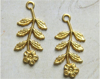 12 pcs., Raw Brass Flower Charm, Bridal Headpiece, Earring Dangle, Raw Brass Stamping, 14mm x 29mm - (r147)