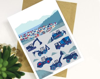 Construction Vehicles diggers and dump trucks children's Greeting Card