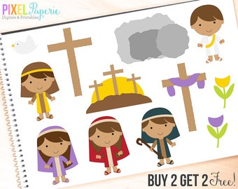 easter clipart christian clip art bible jesus sunday - The Easter Story Digital Clipart - BUY 2 GET 2 FREE