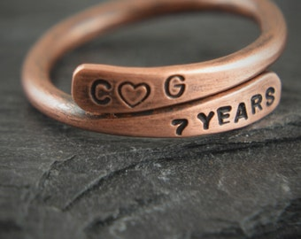 Personalized Pure Copper Ring, Copper gift, Copper, Gift for 7th anniversary, Copper anniversary, Copper jewelry, 7th anniversary gift, gift
