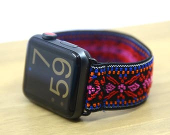 Tefeca Red Embroidery Ethnic Pattern Stretch Elastic Apple Watch Band 38mm 42mm - EREE