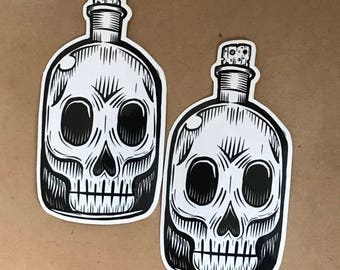 Skull Bottle Sticker - Outsider art by Kevin Kosmicki (2 pack)