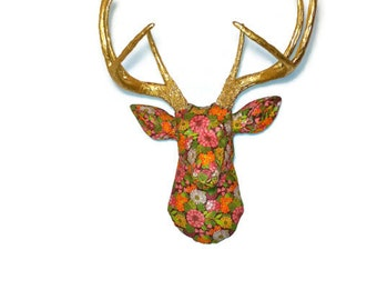 Faux Fabric Deer Head Wall Mount - Vibrant Floral Arrangement - Faux Gold Painted Antlers - FAD2008