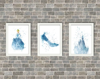 Set of 3 Watercolour Cinderella, Glass Slipper & Castle Prints (A5 Sizes Also Available)