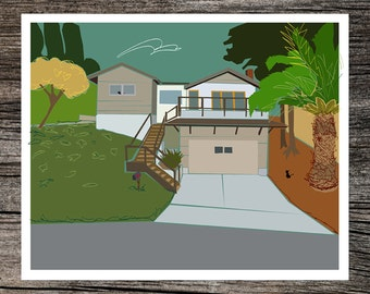 Customized home portrait, original artwork of your house, by Richard Kaponas & Kathryn DiLego