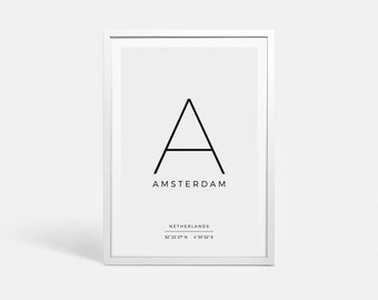 Digital print Instant download Latitude longitude GPS Coordinates sign Digital poster download Amsterdam print Amsterdam wall art decor
