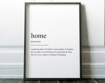Home Definition Print, Wall Art Print, Quote Print, Definition Print, Minimalist, Minimalist Print, Home Print, Family Print, Definition
