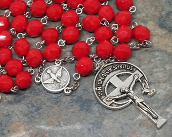 Glas-Rosenkranz in opak rot; 5 gesätze Rosenkranz, katholischen Rosenkranz, kommen Männer Rosenkranz, großen, Heiligen Geist Rosenkranz, Veni Creator Spiritus