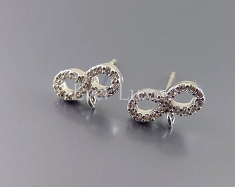 2 infinity Cubic Zirconia CZ pave earrings, wedding / bridal jewelry, jewellery making, stud earrings 1017-BR (bright silver, 2 pieces)