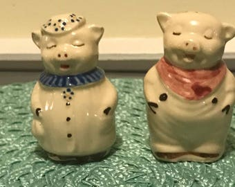 Shawnee Winnie and Smiley the Pig Salt and Pepper Shakers 1940's