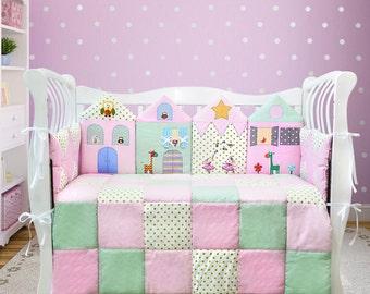 Baby girl nursery/ Baby girl crib bedding set/ Pink baby bedding/ Pink toddler bedding/ Pink baby  shower gift/ Pink newborn girl gift (014)