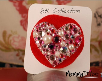Red Heart Barrette/ Valentine's Day Fascinator with Crystals and Pearls