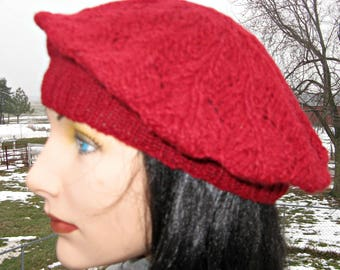 Knitted Red Beret Tam made with Alpaca Yarn, Soft Alpaca Winter Hat for Men and Women