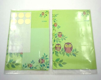 Vintage Brightnotes Fold 'n Seal Stationery Set with Cute Brown Owls by Bright of America