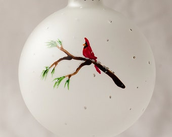 Cardinal Christmas Ornament, Frosted Glass, Hand Painted Holiday Gift