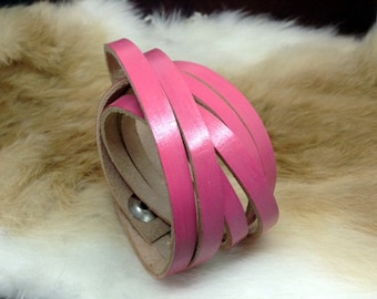 Ladies pink leather wrap bracelet