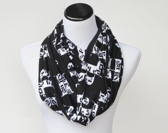 Black and white infinity scarf book scarf print Alphabet black white letters scarf circle scarf loop scarf - gift for girl and teacher